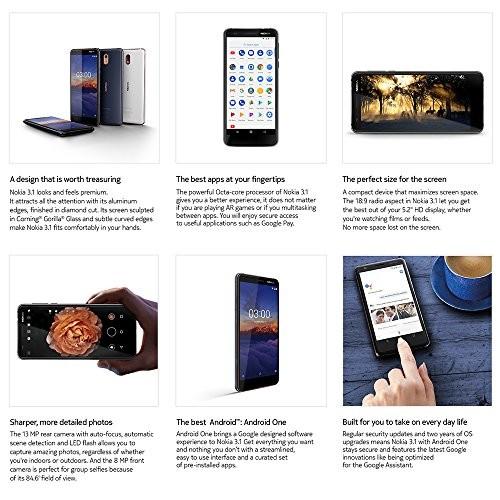 Nokia 3 1 - Android 9 0 Pie - 16 GB - Dual SIM Unlocked Smartphone