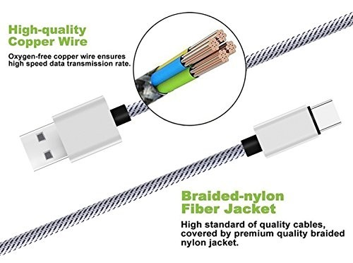 Type C Cable 3Pack Note 8,S8,S8 plus Nexus 6p//5X,LG G6 Black//White 6FT 6FT 6FT SUPZY Durable Nylon Braided High Speed 2.0 Type C to Type A Cable for Google Pixel//Pixel XL TL HTC 10 etc