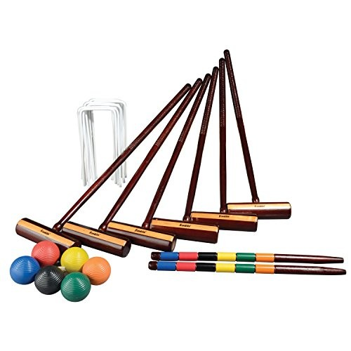 Franklin Sports Outdoor Croquet Set - 6 Player Croquet Set with Stakes, Mallets, Wickets, and Balls - Backyard/Lawn Croquet Set - Expert