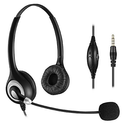 Bingle Dual Ear Wired Cell Phone Headset With Microphone Noise Cancelling Phone Headset For Iphone Samsung Lg Htc Blackberry Huawei Zte Mobile Phone And Smartphones With 3 5mm Jack Mobile Phones