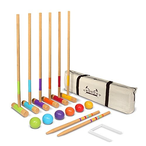 """GoSports Standard Croquet Set Includes Six 27"""" Mallets, 6 Balls, 9 Wickets, 2 End Stakes and Case"""