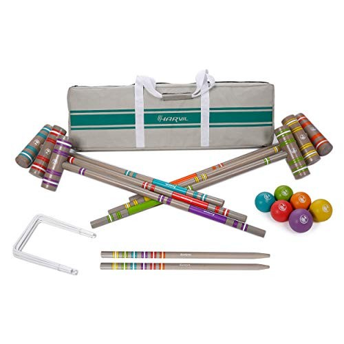 Harvil 6-Player Croquet Set for All Ages with Mallets, Balls, Stake Posts, Wickets, and Carrying Case - Light Gray