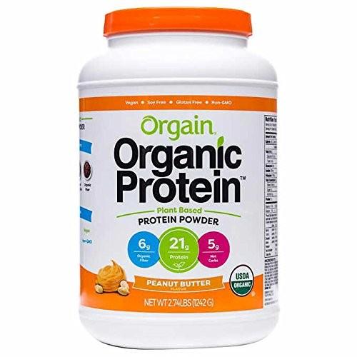 Orgain Organic Plant Based Protein Powder, Peanut Butter, Vegan, Gluten Free, Kosher, Non-GMO, 2.74 Pound, Packaging May Vary