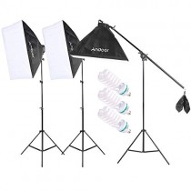 Andoer Photography Photo Studio Lighting Kit Set Softbox with 5500K 135W Daylight Studio Bulb Light Stand Square Cube Softbox Cantilever Bag (softbox)