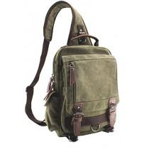 Jiao Miao Canvas Shoulder Backpack Travel Rucksack Sling Bag Cross Body Messenger Bag,180308-Green