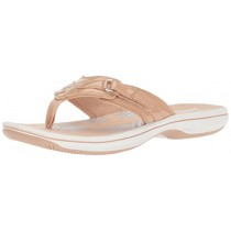 Clarks Women's Breeze Sea Flip Flop, nude synthetic patent, 10 B(M) US