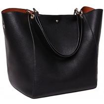SQLP Work Tote Bags for Women's Leather Purse and handbags ladies Waterproof Shoulder commuter Bag Black