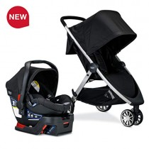 Britax B-Lively Travel System with B-Safe 35 Infant Car Seat, Ashton [Amazon Exclusive] | One Hand Fold, XL Storage, Ventilated Canopy, Easy to Maneuver