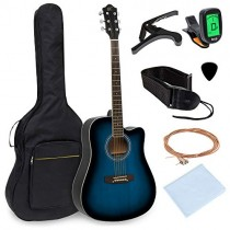 Best Choice Products 41in Full Size Beginner Acoustic Cutaway Guitar Kit w/Padded Case, Strap, Capo, Extra Strings, Digital Tuner, Picks (Blue)