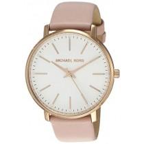 Michael Kors Women's Stainless Steel Quartz Watch with Leather Calfskin Strap, Pink, 18 (Model: MK2741)
