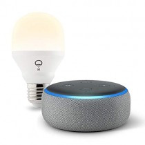 Echo Dot (3rd Gen) bundle with LIFX Wi-Fi Smart Light - Heather Gray