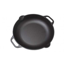 Victoria 13 Inch Cast Iron Frying Pan. Paella Pan, Seasoned with 100% Non-GMO Flaxseed Oil, Kosher Certified