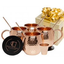 Mule Science Moscow Mule Copper Mugs - Set of 4-100% HANDCRAFTED - Pure Solid Copper Mugs 16 oz Gift Set with BONUS: Copper Cups with Cocktail Copper Straws, Coasters and Shot Glass!