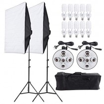 Andoer 2000W Photography Studio Lighting Kit, Photography Continuous Softbox Lighting Kit 5500K Professional Light System with 10pcs Bulbs 2pcs 5in1 Socket for Filming Model Portraits Advertising