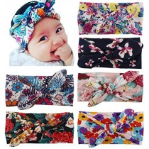 Toptim Baby Girl's Turban Headband Head Wrap Knotted Hair Band(6 Pack)Bohemian Rabbit Ear, One Size