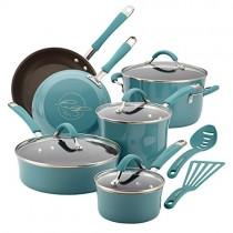 Rachael Ray 16344 12-Piece Aluminum Cookware Set, Agave Blue