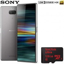 """Sony Xperia 10 Unlocked Smartphone 64GB 6.0"""" 21:9 Wide Display Silver (1317-9632) with Sandisk Ultra 128 GB MicroSDXC UHS-I Memory Card"""