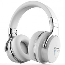 COWIN E7 Active Noise Cancelling Bluetooth Headphones with Microphone Wireless Headphones Over Ear, 30H Playtime for Travel Work TV Computer Cellphone - White