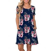 KORSIS Women's Summer Floral Dresses Short Sleeve Tunic T Shirt Swing Dresses Flower Navy Blue 3XL