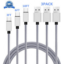 Type C Cable 3Pack, SUPZY Durable Nylon Braided High Speed 2.0 Type C to Type A Cable for Google Pixel/Pixel XL, Nexus 6p/5X,LG G6, Note 8,S8,S8 plus, HTC 10 etc. TL (Black/White) (3FT 6FT 10FT)