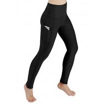 ODODOS High Waist Out Pocket Yoga Pants Tummy Control Workout Running 4 Way Stretch Yoga Leggings,Black,X-Small