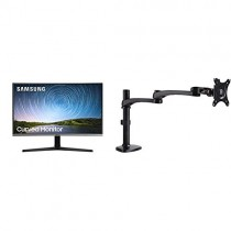 Samsung 27 inch CR50 Frameless Curved Monitor (LC27R500FHNXZA) - Curved Gaming, 1080p, 4ms, AMD Freesync, HDMI with AmazonBasics Single PC Monitor Stand - Modular Arm Mount, Aluminum Bundle