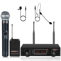 UHF Wireless Microphone System, Phenyx Pro Dual Cordless Mic Set with Handheld/Bodypack/Headset/Lapel Mics, 2x200 Channels, Long Distance Operation, Ideal for DJ, Church, Events (PTU-71B)