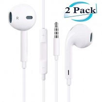 2 Pack Headphones/Earphones/Earbuds 3.5mm Wired Headphones Noise Isolating Earphones with Built-in Microphone & Volume Control Compatible with Phone 6 6S SE 5S 4 Pod Pad/Android MP3