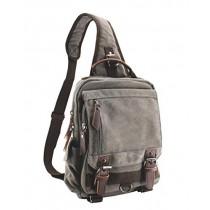 Jiao Miao Canvas Shoulder Backpack Travel Rucksack Sling Bag Cross Body Messenger Bag,180308-Gery