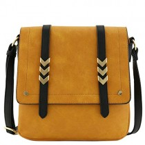 Double Compartment Large Flapover Crossbody Bag with Colorblock Straps Mustard/Black