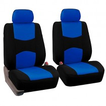 FH Group Universal Fit Flat Cloth Pair Bucket Seat Cover (Blue/Black) (FH-FB050102, Fit Most Car, Truck, Suv, or Van)