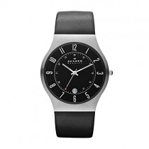 Skagen Men's Sundby Quartz Stainless Steel and Leather Casual Watch, Color: Silver-Tone, Black (Model: 233XXLSLB)