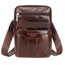 Hebetag Vintage Leather Shoulder Messenger Bag for Men Travel Business Crossbody Pack Wallet Satchel Sling Chest Bags Coffee medium size