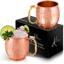 KoolBrew Moscow Mule Copper Mugs Gift Set of 2 Copper Mules,100% Pure Solid Copper Cups with Brass Handles, Hammered Finish