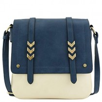 Double Compartment Large Two-Tone Colorblock Flapover Crossbody Bag Navy/Nude