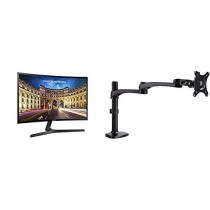 "Samsung LC27F398FWNXZA Samsung C27F398 27"" Curved LED Monitor with AmazonBasics Single PC Monitor Stand - Modular Arm Mount, Aluminum Bundle"
