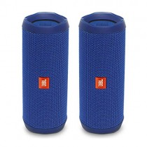 JBL Flip 4 Portable Waterproof Bluetooth Speaker - Pair - Blue (Factory Renewed)