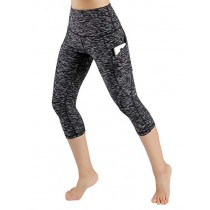 ODODOS High Waist Out Pocket Yoga Capris Pants Tummy Control Workout Running 4 Way Stretch Yoga Leggings,SpaceDyeMattBlack,X-Small
