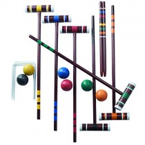 Franklin Sports Croquet Set - Includes 6 Croquet Wood Mallets, 6 All Weather Balls, 2 Wood Stakes and 9 Metal Wickets - Classic Family Outdoor Game - Family Set