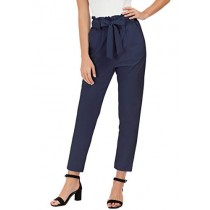 Women's Simple Solid Ruffle Tie Waist Pants with Pockets L Navy Blue