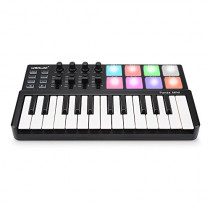 MIDI Keyboard 25 Keys, Worlde Panda MINI II USB Keyboard MIDI with 8 RGB Backllit Drum Pads, 4 Sliders and 4 Knobs
