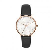 Michael Kors Women's Pyper Stainless Steel Quartz Watch with Leather Strap, Black, 18 (Model: MK2834)