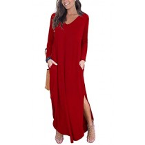 GRECERELLE Women's Casual Loose Pocket Long Dress Long Sleeve Split Maxi Dresses Red L