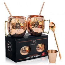 Moscow Mule Mugs 100% Solid Copper, FOOD SAFE, Gift Set of 2, 16oz, Hammered, No Nickel, BONUS: 2 Straws + 1 Shot Glass + Stirrer & 2 E-Books by Copper-Bar