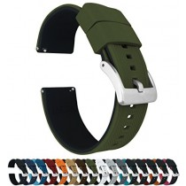 24mm Army Green/Black - Barton Elite Silicone Watch Bands - Quick Release - Choose Strap Color & Width