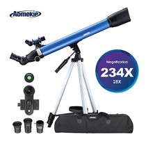 Aomekie Telescope for Adults Astronomy Beginners 700mm Focal Length 234X Magnification Travel Scope Refractor Telescopes with Adjustable Tripod 10X Phone Adapter Erect Finderscope and Carrying Bag