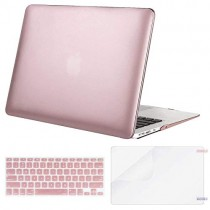 MOSISO Plastic Hard Case & Keyboard Cover & Screen Protector Only Compatible MacBook Air 13 Inch (Models: A1369 & A1466, Older Version 2010-2017 Release), Rose Gold