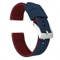 24mm Navy Blue/Crimson Red - Barton Elite Silicone Watch Bands - Quick Release - Choose Strap Color & Width