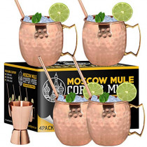 Moscow Mule Copper Mugs - Set of 4-100% Handcrafted - Food Safe Pure Solid Copper Mugs - 16 oz Gift Set with Bonus: Cocktail Copper Straws and Jigger (Copper)