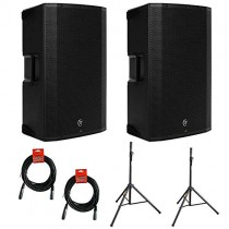"""Mackie Thump12BST Boosted -1300W 12"""" Advanced Powered Loudspeakers (Pair) with (2) SS-4420 Steel Speaker Stand and (2) XLR-XLR Cable"""